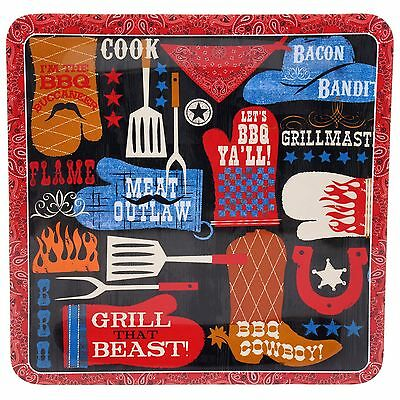 Certified International Corp BBQ Bandit Melamine Square Platter 14-Inch M... New