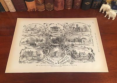 Original Antique Civil War BEAUFORT South Carolina SC Engraved Panoramic Map