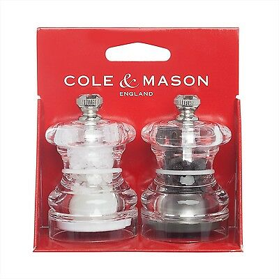 COLE & MASON Button Mini Salt and Pepper Grinder Set Stainless Steel Mills New