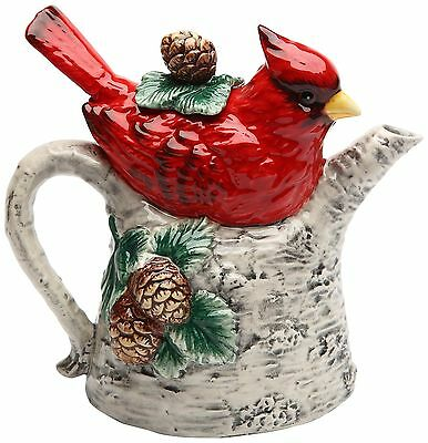 Cosmos 10709 Gifts Cardinal on Birch Tree Ceramic Teapot 5-7/8-Inch New
