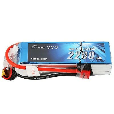 Gens ace LiPo Battery Pack 2200mAh 25C 3S 11.1V with Deans Plug for RC Ca... New