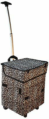 dbest products Smart Cart Leopard Rolling Multipurpose Collapsible Basket... New