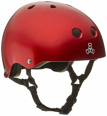 Triple Eight 1010 Brainsaver Glossy Helmet with Standard Liner Red Metall... New
