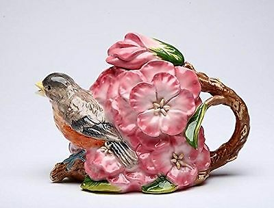 Cosmos Gifts Robin with Flowers Ceramic Teapot 4-3/4-Inch New