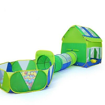 TRUEDAYS 3 in 1 Huge Green Play House Kids Adventure Play Tent Indoor Out... New