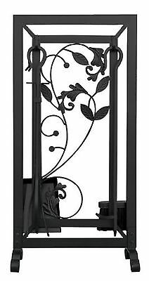 Uniflame 5-Piece Black Fireset with Flowing Leaf Design New