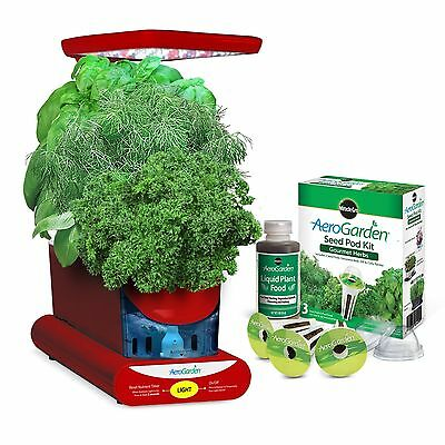 Miracle-Gro AeroGarden Sprout LED with Gourmet Herb Seed Pod Kit Red New