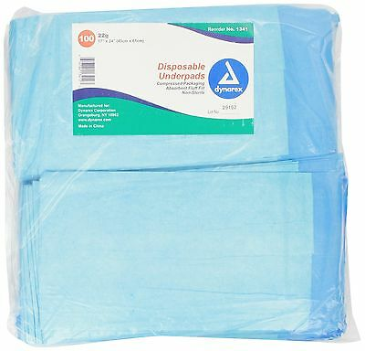 Dynarex Disposable Underpad 17-Inch X 24-Inch 100 Count New