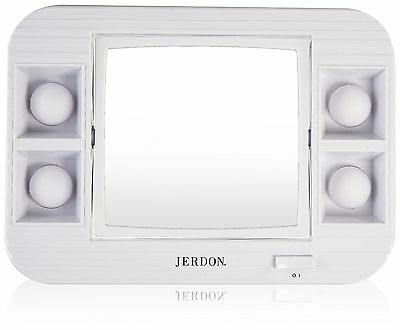 Jerdon LED Lighted Makeup Mirror with 5x Magnification White Finish 34.4 ... New