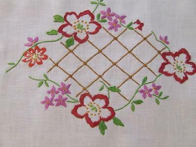 Hand Embroidered Vintage Centre Doily Red Trailing Florals  - Crocheted Edging