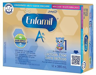 Enfamil A+ Baby Formula Lactose Free Concentrate Case 385ml 12 pack New
