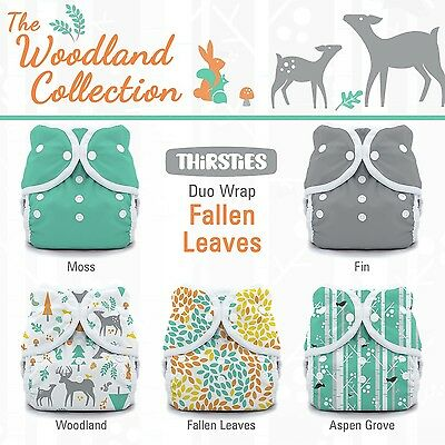 Thirsties Package-Snap Duo Wrap-Woodland Collection Fallen Leaves Size Tw... New