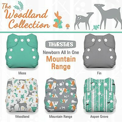 Thirsties Package-Snap Newborn All in One-Woodland Collection Mountain Ra... New