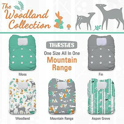 Thirsties Package-One Size All in One Hook and Loop-Woodland Collection M... New