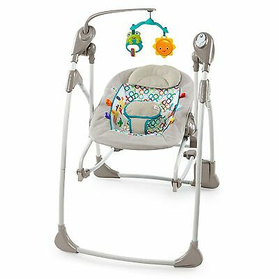 Bright Starts Rock and Swing 2-in-1-Jungle Stream Grey/Red/Orange/White New