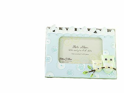 """Lillian Rose Photo Album with Photo Frame On Cover Blue Owl 4.75"""" x 7"""" New"""