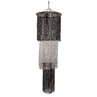 Beistle 1-Pack 3-Tier Shimmering Chandelier 4-Feet Black and Silver New