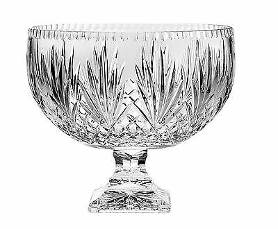 Majestic Gifts Hand Cut Crystal Footed Punch Bowl-12 Inches D Yellow New