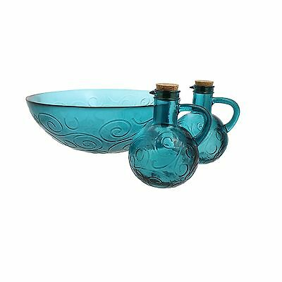 French Home 3 Piece Recycled Glass Salad Set Capri Teal New