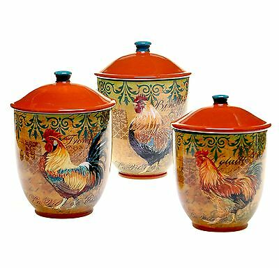 Certified International 3-Piece Rustic Rooster Canister Set Multicolor New