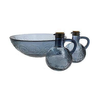 French Home 3 Piece Recycled Glass Salad Set Oyster Grey New