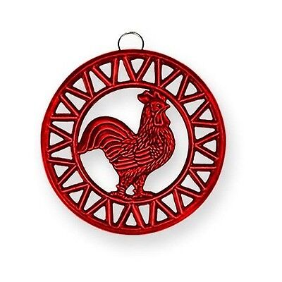 Old Dutch Two Tone Red Rooster Trivet 8-Inch New