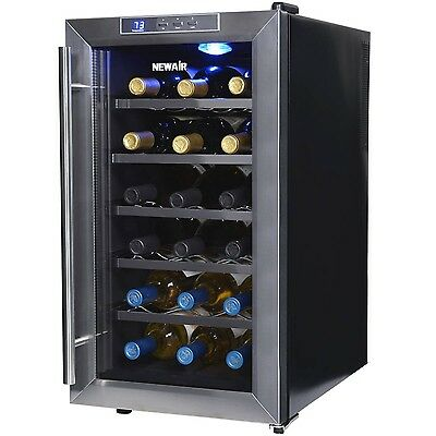 NewAir AW-181E 18 Bottle Thermoelectric Wine Cooler Stainless Steel & Black New