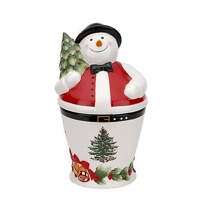 Spode Christmas Tree Mr. Snowman Cookie Jar New