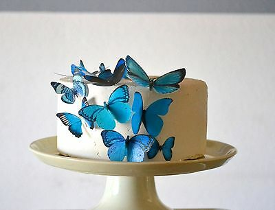 Edible Butterflies  - Assorted Blue Set of 15 - Cake and Cupcake Toppers ... New