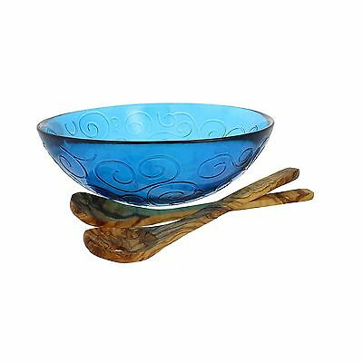 French Home Salad Bowl with Olive Wood Servers Cornflower Blue/Natural Wo... New