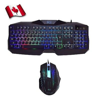 Rii 7 Color LED Backlit Gaming Keyboard & Mouse Combo (RK400) New