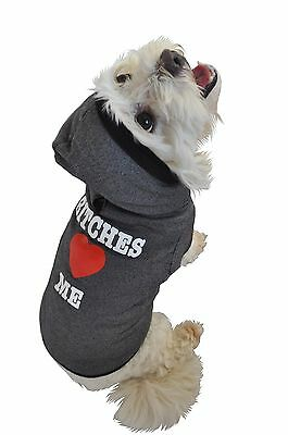 Ruff Ruff and Meow Small Dog Hoodie Bitches Love Me Black New