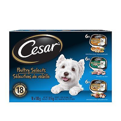 Cesar Variety-Poultry Selects (6Xgrilled Chicken/6Xturkey/6Xchicken Liver... New