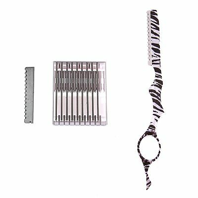 SHEARSDIRECT Razor with Box of Blades Zebra Feather 3.0-Ounce New