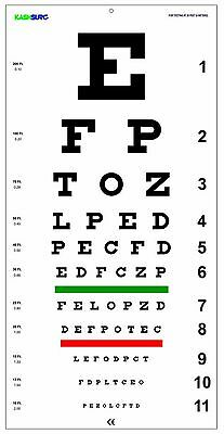 Snellen Eye Chart with Red Green Lines 20 Feet New