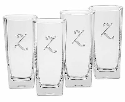 Culver Deep Etched Cooler Glass 16-Ounce Monogrammed Letter-Z Set of 4 Z New