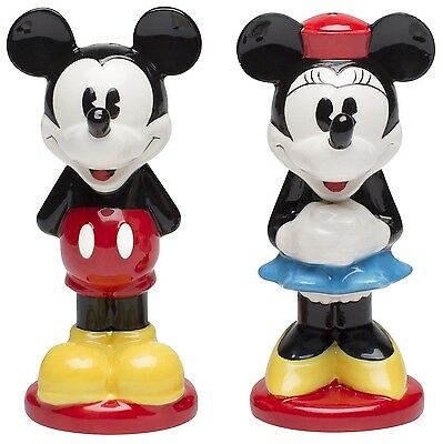 Zak Designs Disney Mickey and Minnie Mouse Ceramic Salt and Pepper Shakers New