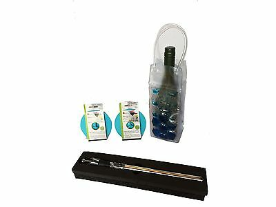 Bundle - 4 Items (1 Stainless Steel Wine Bottle Chill Stick 2 Wine Glass ... New