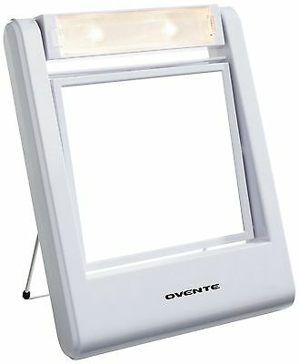 Ovente MLT22W Lightweight Travel Lighted Vanity Mirror 1X/5X Magnificatio... New