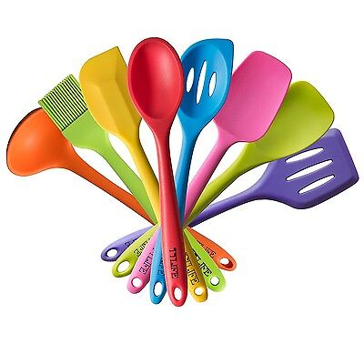 TTLIFE Silicone Spatula Utensil Kitchen 8 Pieces With Turner Slotted spoo... New