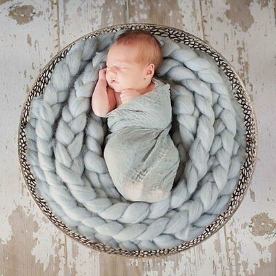 Newborn Baby Basket Roving Braid Wool Spinning Fiber Photography Photo Props