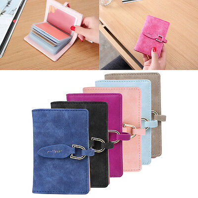 Women 20 Slots Ultra thin Credit Card Holder Leaf Faux Leather Case Mini Wallet