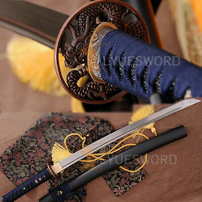 Japanese  Samurai Sword Wakizashi Full Tang Folded Steel Blade Practice Cut Tree
