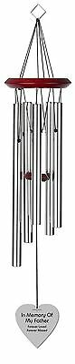 Chimesofyourlife fa-heart-19-silver Father Heart Memorial Wind Chime 19-I... New