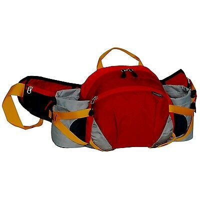 Everest Outdoor Waist Pack with Bottle Holders Red/Wine/Gray One Size New