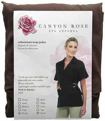 Canyon Rose Esthetician's Wrap Jacket Brown Extra Large New