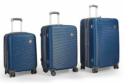 TASSINI Lightweight Hard Side ABS 3-Piece Luggage Set with Lock Checked  ... New