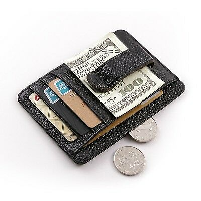 Teemzone Genuine Leather Money Clip Front Pocket Wallet Card Case New