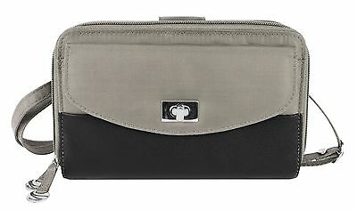 Travelon Safe Id Accent Double Zip Clutch Wallet One Size Stone New