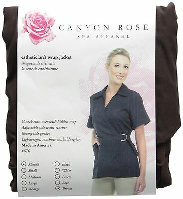 Canyon Rose Esthetician's Wrap Jacket Brown Extra Small New